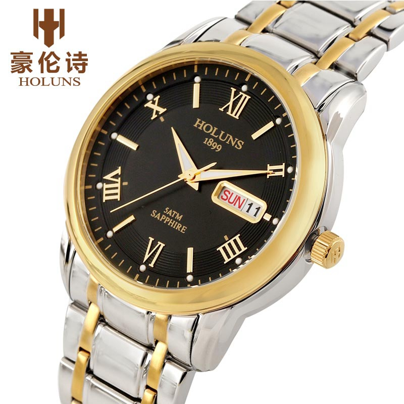 HOLUNS Top Luxury Watch Men's Full Stainless Steel Clock Male Sport Business Japanese Quartz Watches Military Wristwatch Relogio