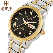 HOLUNS למעלה יוקרה שעון גברים מלא נירוסטה שעון זכר ספורט עסקים יפני קוורץ שעונים צבאי שעון יד Relogio
