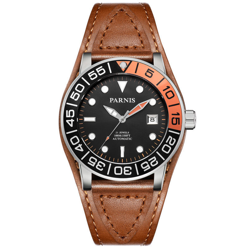 Parnis VOYAGE Seriers Mens Leather Watchband Fashion Automatic Auto-Wind Mechanical Watch Wristwatch parnis pilot iiv seriers luminous mens silicone leather watchband army sport chronograph quartz watch wristwatch