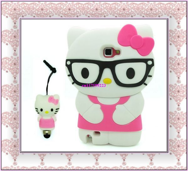 New Hot Pink Hello Kitty glasses Soft Silicone Case Cover for Samsung Galaxy Note 2 II