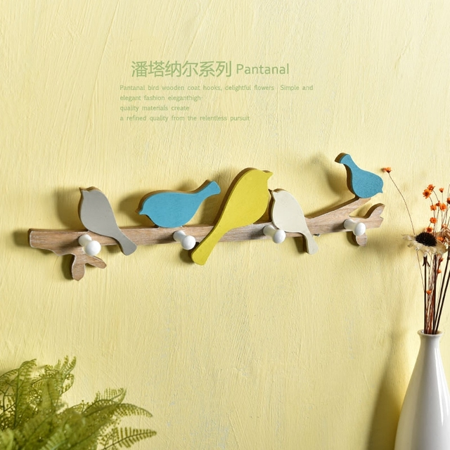 American Pastoral Style Blue Color Singing Bird Wooden Wall Hanger ...