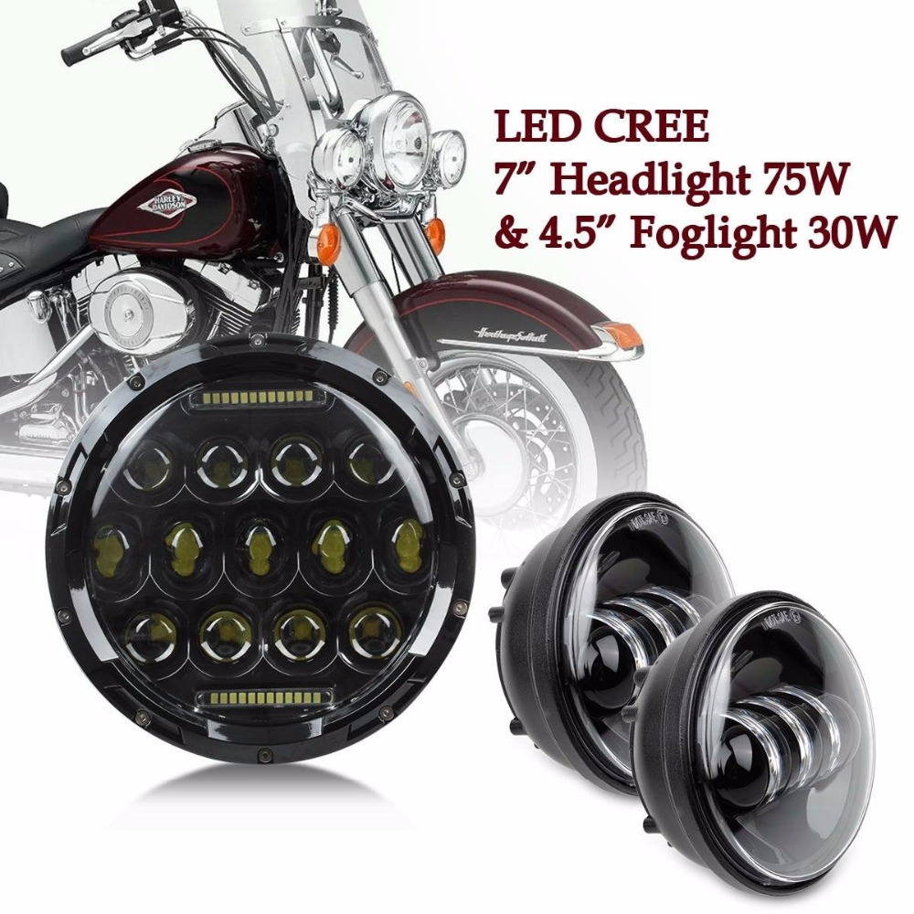 "For Harley Moto Harley Davidson Softail Touring 7"" Led Headlight 75W light DRL hight Power with 4.5"" Passing fog light lamp"