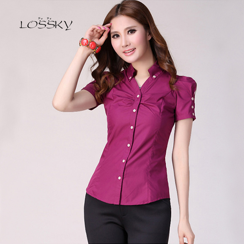 Blouse     shirt   Women Fashion Short Sleeve Slim Female Clothing Solid Elegant Office clothing for women cheap clothes china