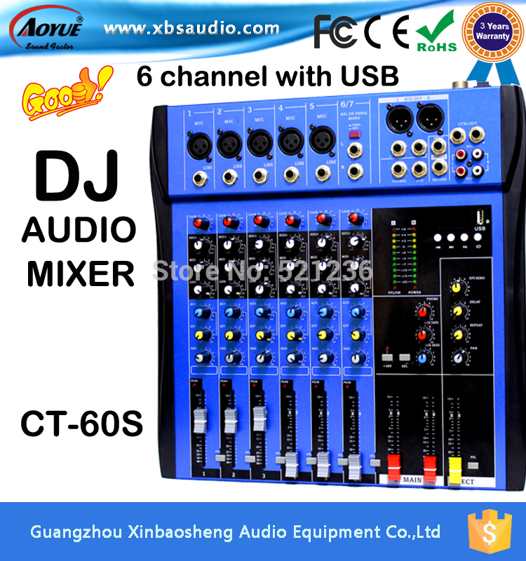 The New 6 Channel Mixer with DSP Effects CT-60S mixer console DJ Minxer power mixer For stage Cinema