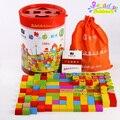 100 Шт./компл. животное детей развивающие игрушки деревянные строительные блоки баррель блоки игрушки развития Интеллекта