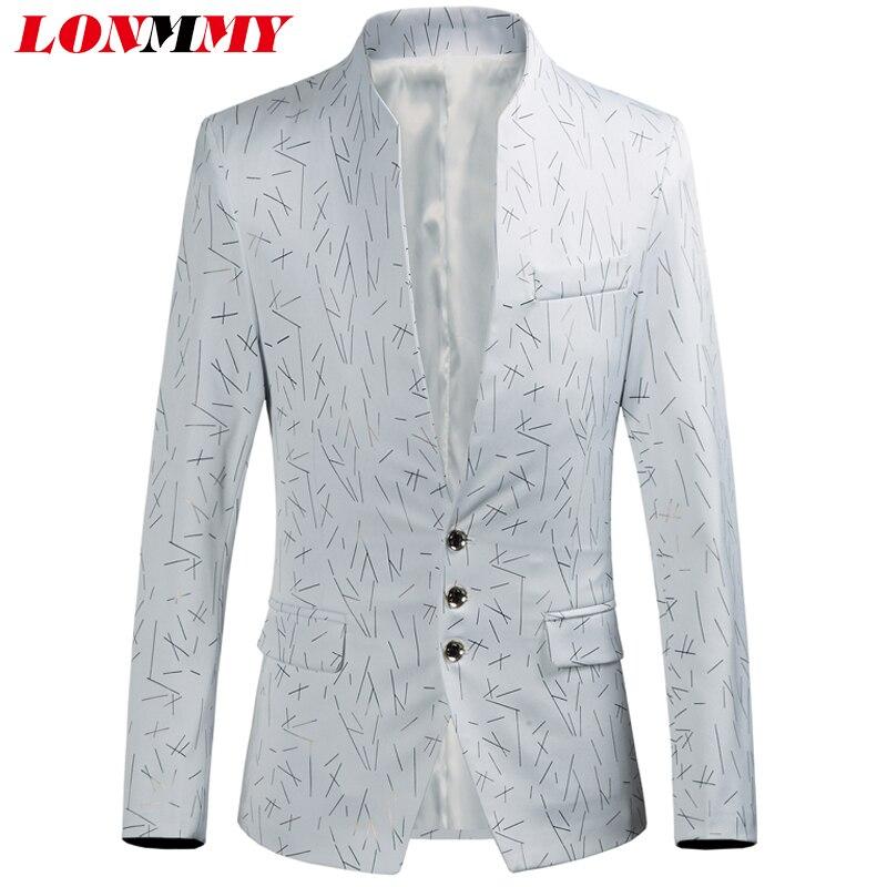 LONMMY 6XL De Mariage costumes pour hommes stade Casaco masculino Costumes et Blazer hommes vêtements casual Slim fit Rouge blanc floral blazer mâle