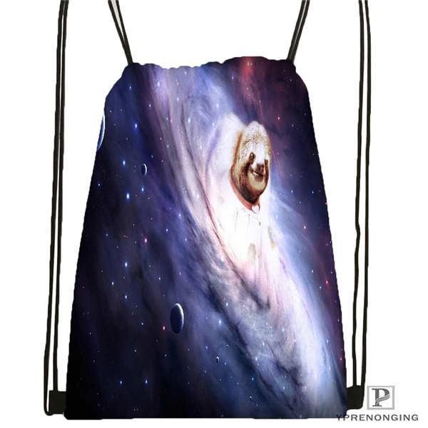 Custom Cover-Sloth-Bear-Stripper-Drawstring Backpack Bag Cute Daypack Kids Satchel (Black Back) 31x40cm#180611-01-14