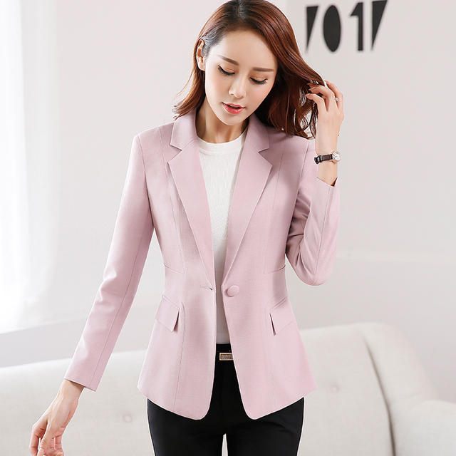 920668e4828d9 Women Long sleeve One button candy color Jackets 2016 Spring Autumn Vogue  Solid Slim Office wear