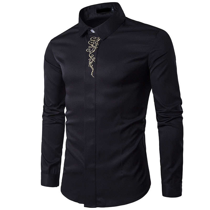 NEW 2019 Fashion spring autumn outfit high-grade waiter embroidery hotel Slim Fit hidden-interlocking long sleeve base shirt