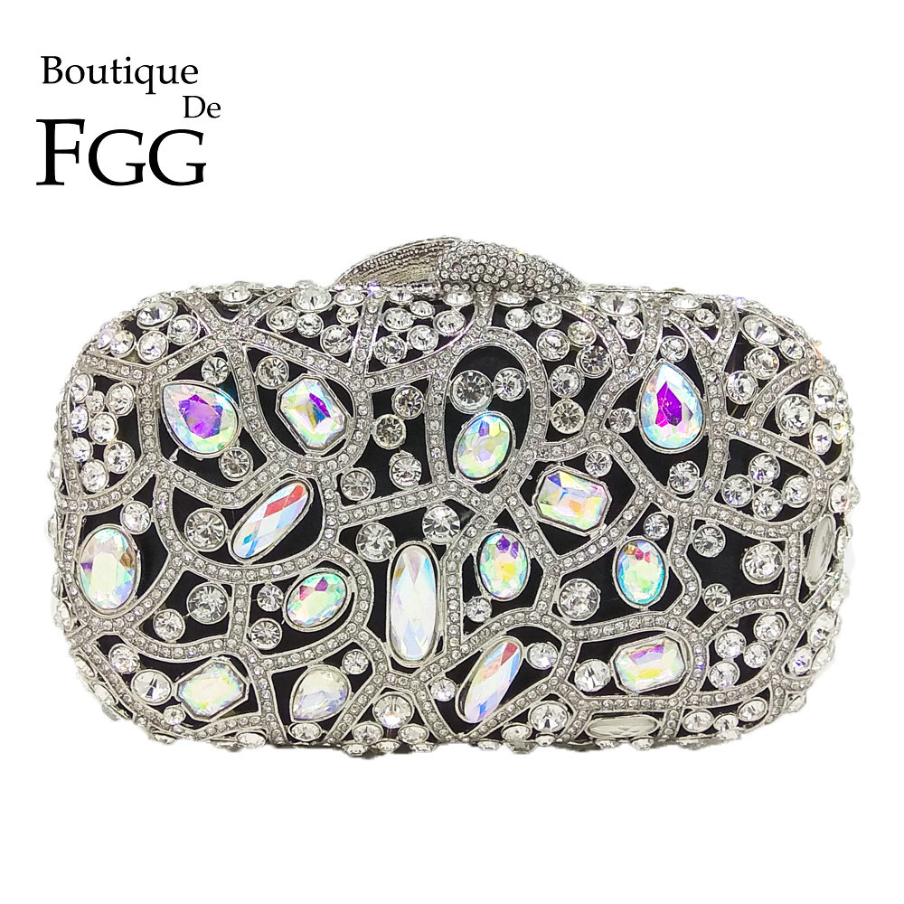 Boutique De FGG Hollow Out Silver Crystal AB Women Evening Purse Bag Bridal Wedding Formal Dinner Metal Diamond Clutch Handbag