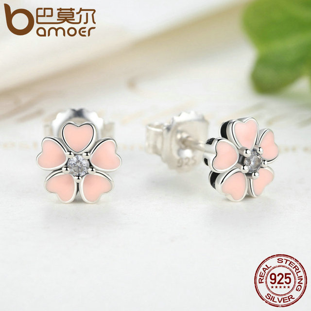 Sterling Silver Pink Heart Flower Female Stud Earrings