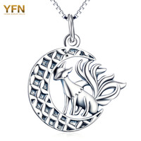 YFN Animal Necklace 925 Sterling Silver Necklace For Halloween Nine Tail Fox Pendant Necklaces With Moon