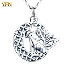 YFN Животных Ожерелье 925 Серебряное Ожерелье Для Хэллоуина Девять Хвост Лисы Кулон Ожерелья с Луны Серебряные Ювелирные Изделия GNX10342