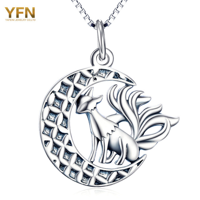 YFN Animal Necklace 925 Sterling Silver Necklace For Halloween Nine Tail Fox Pendant Necklaces with Moon Silver Jewelry GNX10342