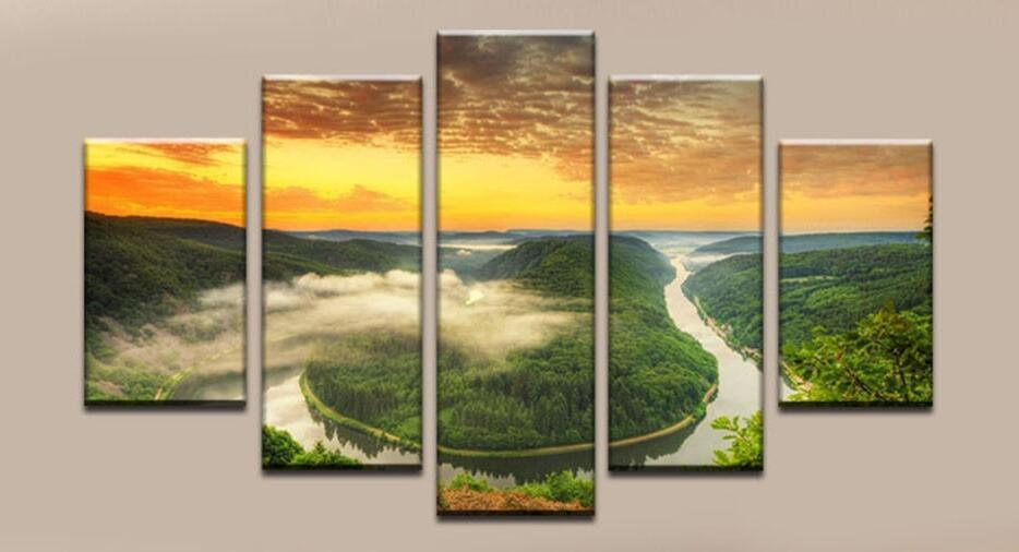 2017 Unframed Wall Art Canvas Modern Green Mountain Painting Printed ...