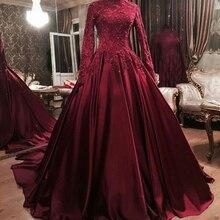 Robe de soiree A Line High Neck Long Sleeves Spitze Appliques Perlen Muslimischen Abendkleid kaftan Frauen Langen Roten Abendkleid kleider