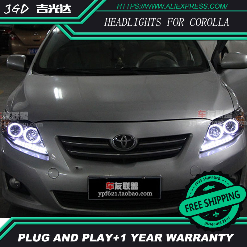 Free shipping Head lamp for Toyota corolla headlights 2007-2011 LED bar headlight DRL H7 Xenon lamp