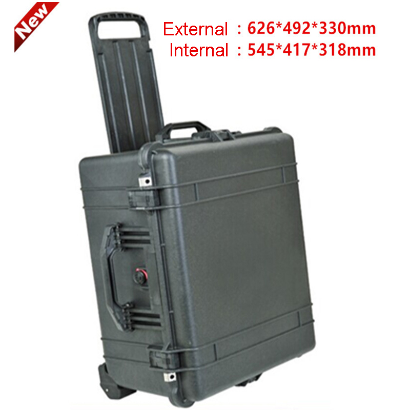 Waterproof Trolley Case Toolbox Tool Case Dustproof Protective Camera Case Instrument Box Equipment Box With Pre-cut Foam Lining