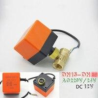 Electric Ball Valve Brass Motorized Ball Valve 3 Wire Two Control AC220V AC24V DC12V DN15 DN32