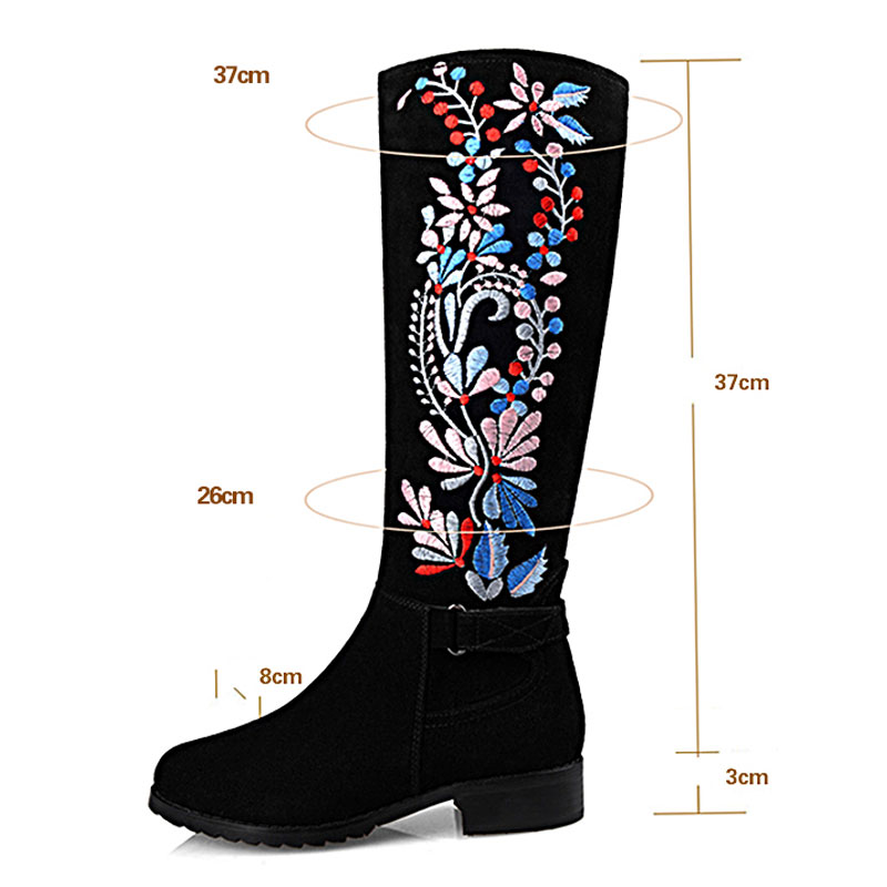 Stiefel Blumen Vintage Stylesowner Neue Echtem Heels Luxus Frauen Dicken Stickerei Kniehohe Leder Spitz Black High Dekoration 6qCFwxnCAB