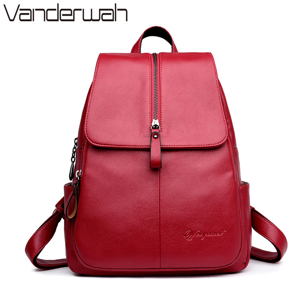 купить Famous Brand Backpack Women Backpacks Solid Fashion Zipper Girls School Bags for Girls Black Leather Women Backpack mochila 011 по цене 1631.26 рублей