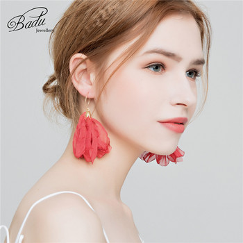 Badu Tulle Flower Hoop Earrings Round Circle Red pink color Bohemian Drop Earring for Holiday Party Jewelry Gift for Women
