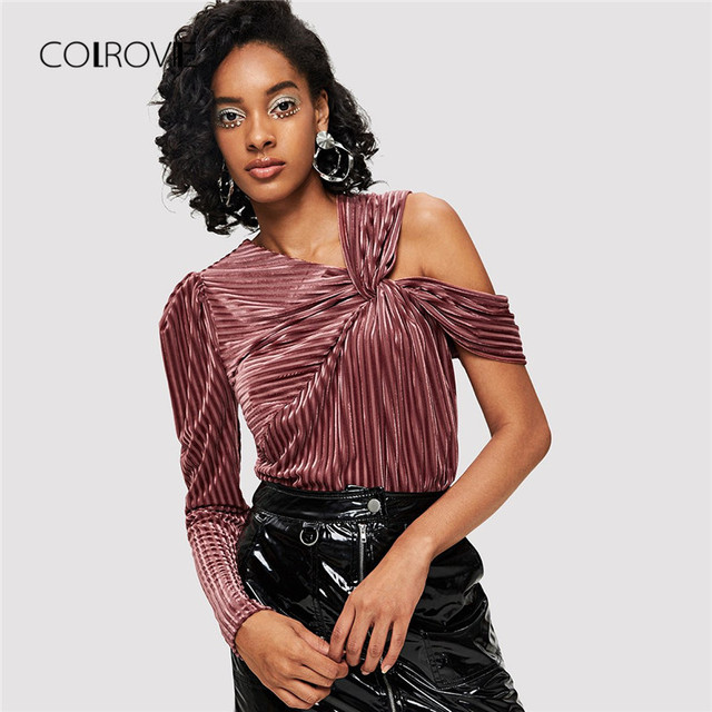 COLROVIE Pleated Knot One Shoulder Rib Velvet Blouse Shirt 2018 Autumn  Twist Long Sleeve High Street 059ca194ae22