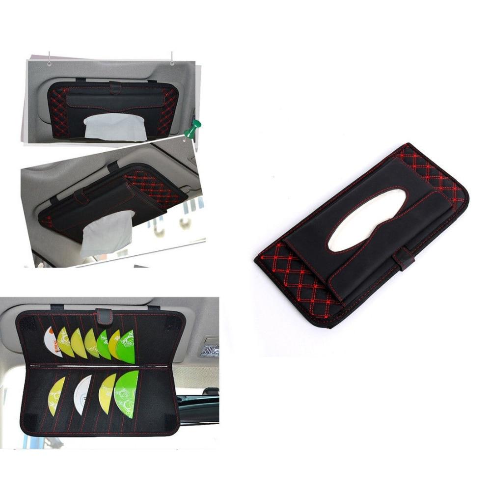 Car Accessor Sun Visor CD Hanger Holder Tissue Box Paper Napkin Bag For Universal Chevrolet Ford Nissan Honda Toyota Car Styling