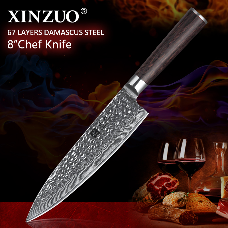 """XINZUO 8"""" inch Chef Knife Handmade Damascus Steel Kitchen Chef Accessories Advanced Gyotou Knife Gift Knives Pakka Wood Handle-in Kitchen Knives from Home & Garden    1"""