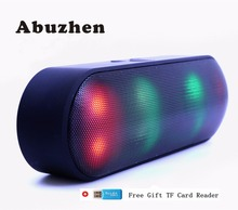 Abuzhen Bluetooth Speaker LED Portable Wireless Speaker Mini Sound System 3D Stereo Music MP3 Player Surround Support TF AUX USB cheap None 2 (2 0) caixa de som portable bluetooth speakers Full-Range Plastic AUX Bluetooth USB Battery Other 360 degree stereo sound soundbar