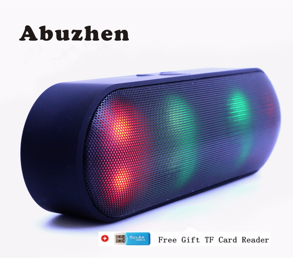 Abuzhen Bluetooth Speaker LED Portable Wireless Speaker Mini Sound System 3D Stereo Music <font><b>MP3</b></font> Player Surround Support TF AUX USB