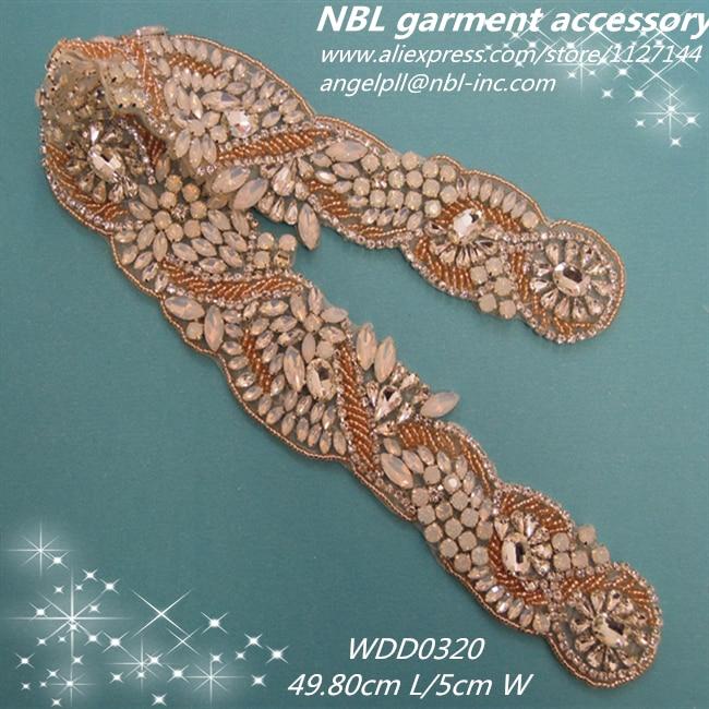 NEW opal color crystal bridal beaded rhinestone applique for wedding dress WDD0320