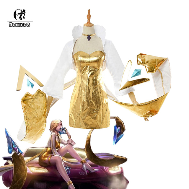 ROLECOS Game LOL K/DA Evelynn Cosplay Costume KDA Evelynn Prestige Edition Cosplay Dress Sexy Leather Costume Women Golden Dress