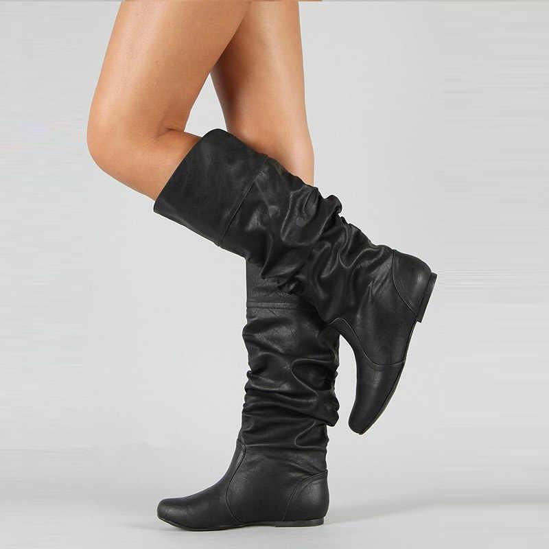 WETKISS artı boyutu 34-48 orta buzağı botları takın topuklu kadın pilili çizmeler kadın yuvarlak ayak ayakkabı düz ayakkabı sonbahar kış 2020