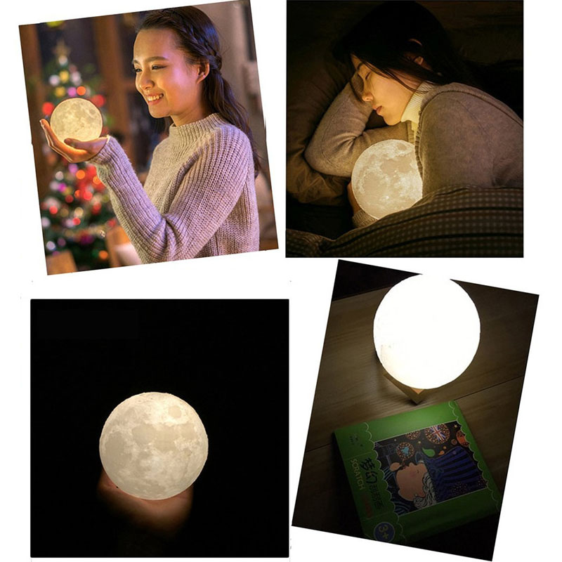 Luzes da Noite oi-lumix 3d impressão lua luz Dimension : H100mm*w74mm*t41mm