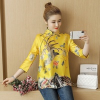 Chinese Cheongsam Tops For Women Retro Vintage Shirt Tea Loose Yellow Chinese Dress 2019 Spring Ladies Chinese Tops DD1891