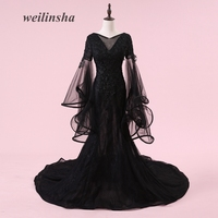 weilinsha Amazing Black Evening Dresses Sexy Mermaid Tulle Appliques Ruffles Formal Evening Gowns Full Sleeve Vestido de Festa