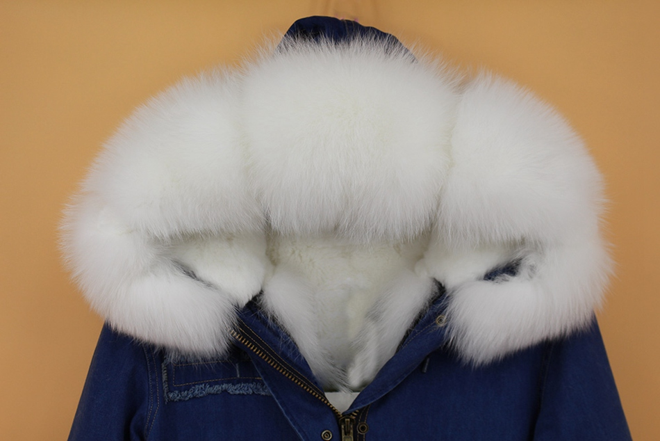 women demin fur parka natural fox fur hoody  (5)