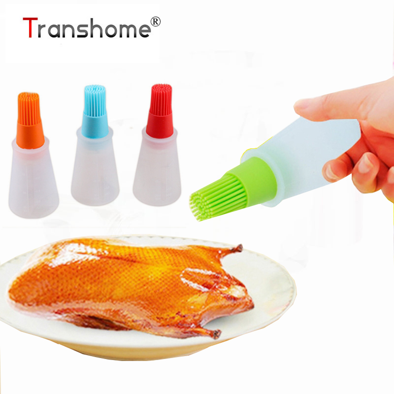 Transhome 1pcs Grill Oil Bottle Brushes Tool Heat Resisting Silicone BBQ Basting Oil Brush Barbecue Cooking Pastry Brushes