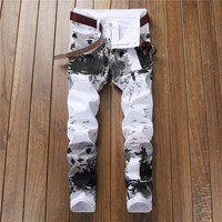 2019 Europeans Style Men Floral Slim White Jeans Graffiti Black Personal Man Casual Paint Leisure Club Street Fashion Jeans
