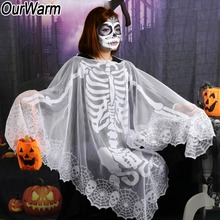 OurWarm 60*60inch White Lace Skeleton Poncho Halloween Custom for Women Party Supplies Girls Costume