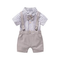 2019 New Fashion Toddler Baby Boys Romper Summer Outfits Gentleman Body Suit Baby Clothes For Newborn Baby Kids Romper Clothing