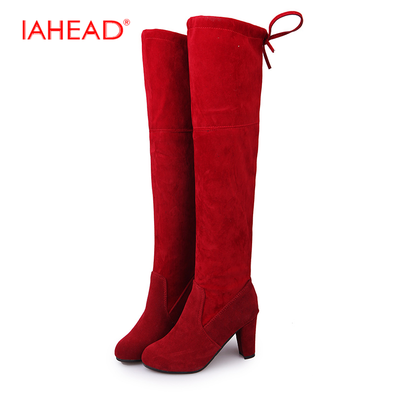 IAHEAD Brand Over-the-knee  leather boots women Winter shoes woman Black suede SlipOn 35-43 High quality  UPC399 цены онлайн