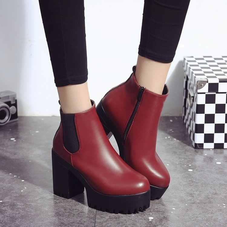 2018 Moda Kadın Çizmeler Kare Topuk Platformları Zapatos Mujer PU Deri Uyluk Yüksek Pompa Botları Motosiklet Ayakkabı Sıcak Satış