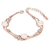 AKB016 Rose Pendant Crystal Bracelets Female Oil Drip Imitation Platinum Double Bracelet For Women