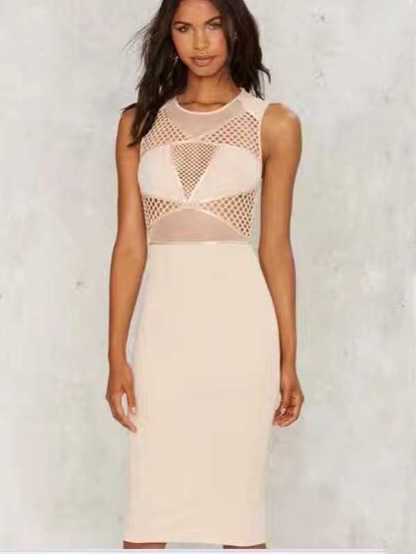 ZuCan Huang's store wholesale 2017 New Dress white Elastic self-cultivation Fashion sexy nightclub Cocktail party Bandage dress (L1564)