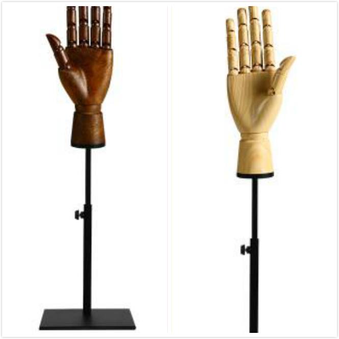 1pcs DHM102-M Right or left man Hand mannequins Male Adjustable size Finger model shoot props Wood color or Brown color dummy