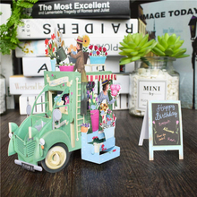 Birthday Card Pop-Up Cards Flower Car Gift Card Baby Shower Cartoon Greeting Cards Postcard for Kids