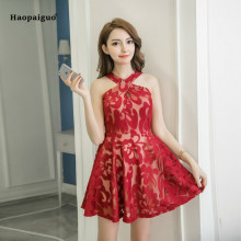 Women A-line Dress Summer Red Blue Sleeveless Halter Vintage Party Lady Lace Dress Elegant Club Mini Ladies Dresses Moda Mujer red lace details halter sleeveless mini dress