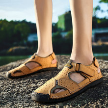 8d937e8ec50cfc Marque en cuir véritable hommes chaussures été nouvelle grande taille hommes  sandales hommes sandales de mode sandales pantoufle.
